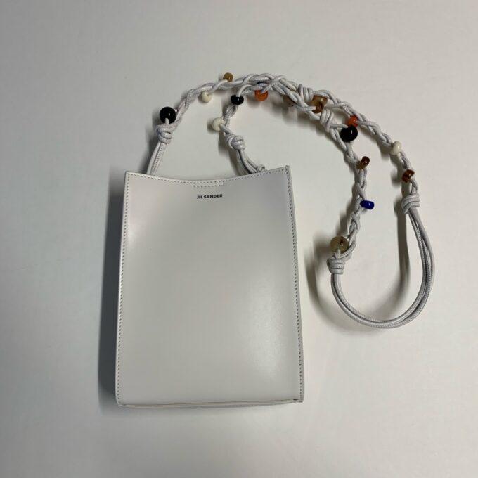【JIL SANDER】 Tangle ショルダーバッグ S ビーズ装飾  ホワイト