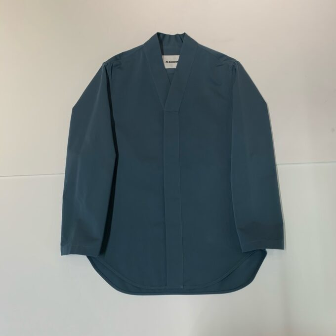 【JIL SANDER】*お問い合わせ商品 ノーカラーシャツ ブルーグレー