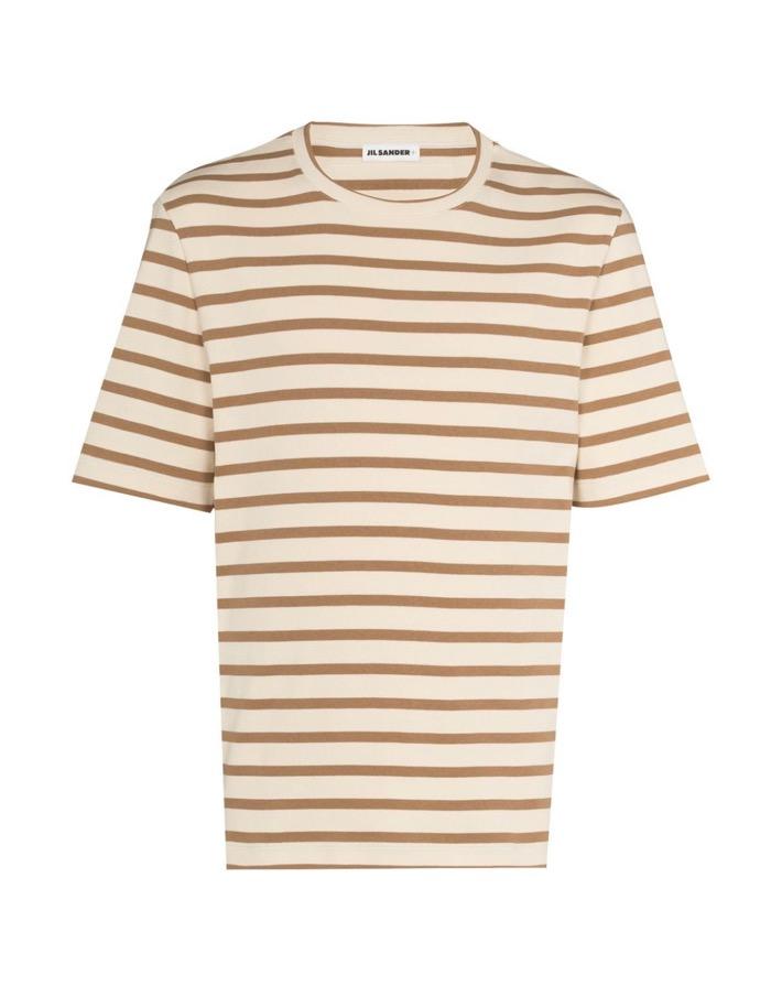 【JIL SANDER】*お問い合わせ商品 ストライプ ロゴTシャツ ベージュ