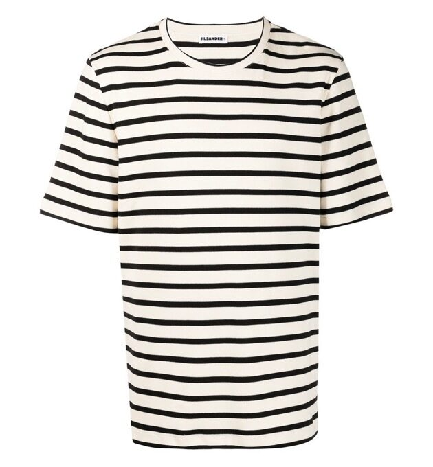 【JIL SANDER+】*お問い合わせ商品 ストライプ ロゴパッチTシャツ ブラック