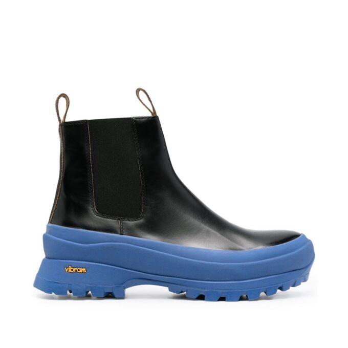 【JIL SANDER】*お問い合わせ商品 コントラストソール アンクルブーツ ブラック ブルー